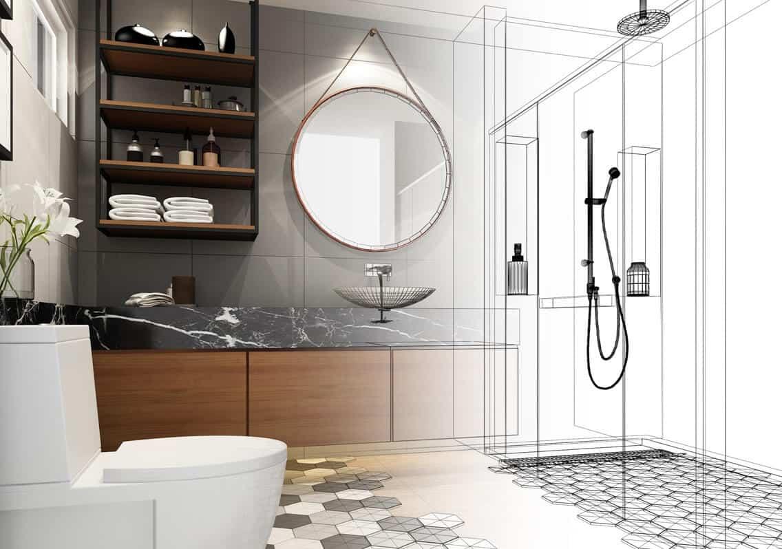 projekt łazienki online, kabina prysznicowa na wymiar